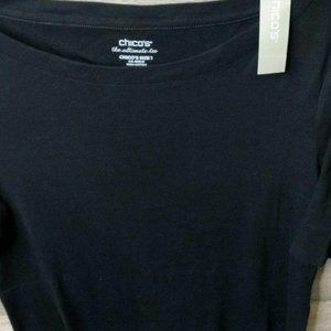 Women's Chico's Bateau Neck Short Sleeve Tee Size M (Chicos Size 1) New with Tag